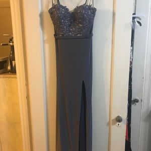 Lavender Beaded Strapless Evening Gown